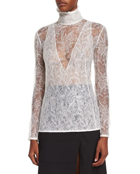 lace collar blouse altuzarra high neck sheer lace blouse in lyst