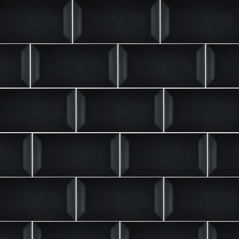 subway bevelled edge black gloss wall tiles 75 x 150