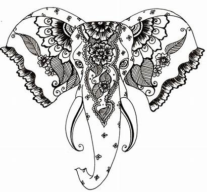 Henna Drawing Clipart Elephant Mehndi Tattoo Getdrawings