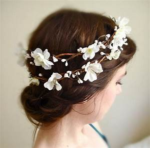 White Flower Wedding Hair Wreath Flower Girl SAKURA BRANCH
