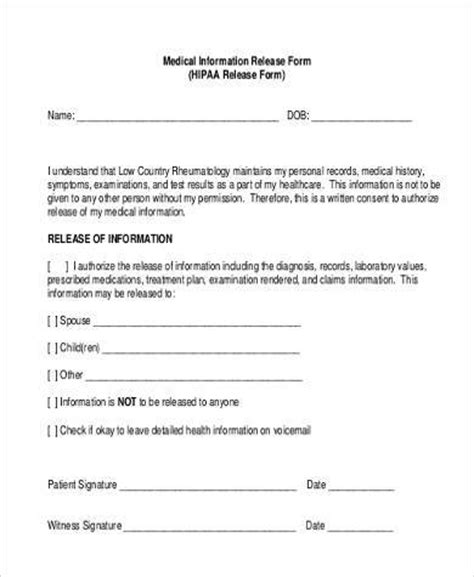 release of information form sle information release forms 8 free