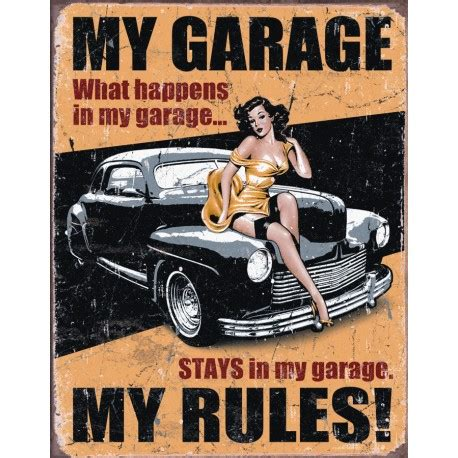 bureau angles plaque publicitaire my garage pin up us way of