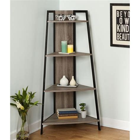 black corner ladder bookcase details about corner shelf ladder rustic wood metal