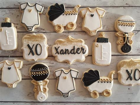 Black And Gold Baby Shower by Black White And Gold Baby Shower Cookies Hayley Cakes