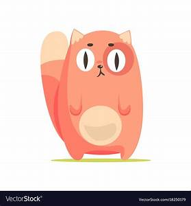 Funny red cat with big eyes cute cartoon animal Vector Image