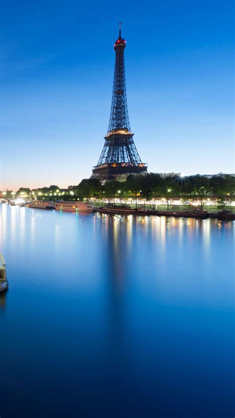 france eiffel tower river night avec images