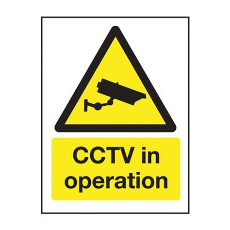 Mileta CCTV In Operation Self Adhesive Sign 200 x 150mm Yellow Yellow 200 x 150mm (Each)