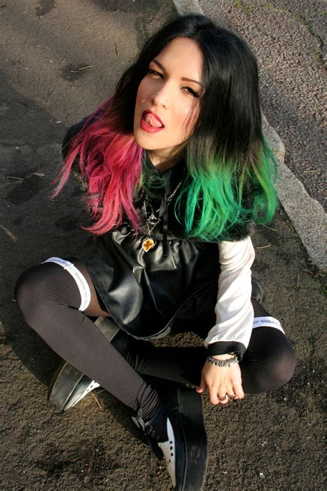 Half And Half Dip Dye Hair Red And Green Hair Beauty
