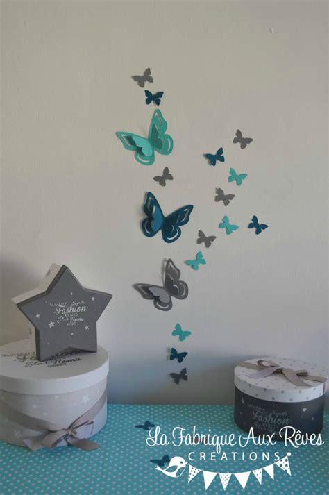 deco chambre bebe bleu gris stickers papillons 3d turquoise gris bleu canard pétrole