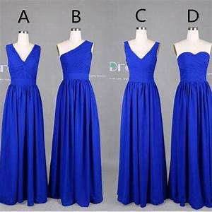 New 2015 Custom Made Royal Blue Long Chiffon Bridesmaid ...