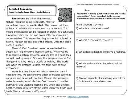 limited resources k12 2nd grade reading comprehension
