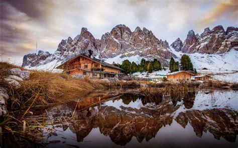 Val Di Funes Dolomites Italy Desktop Wallpaper Download