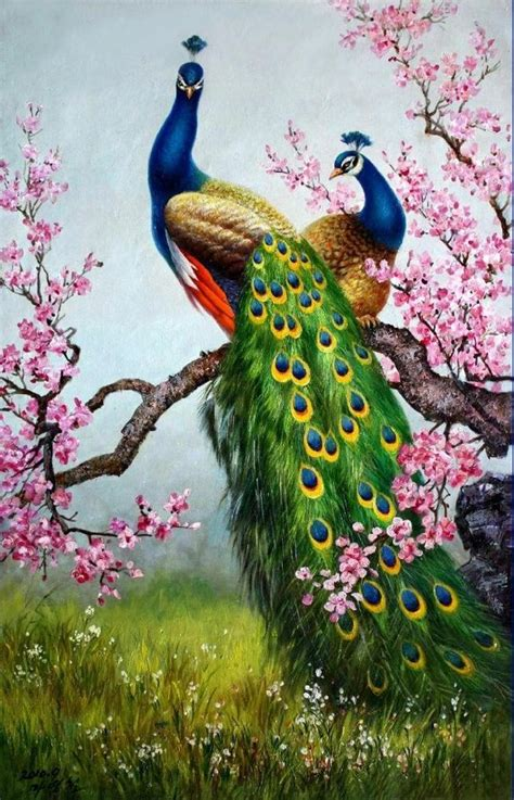 art print animals peacock oil painting picture printed