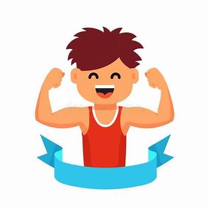 Healthy Clip Children Lifestyle Vector Strong Sportsman