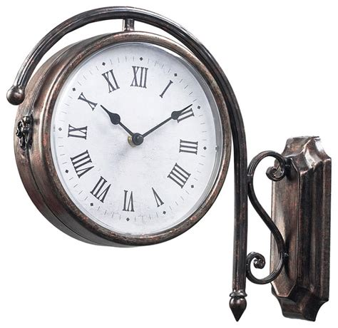 sided wall clock sterling 125 035 antique double sided wall clock transitional clocks by lighting front