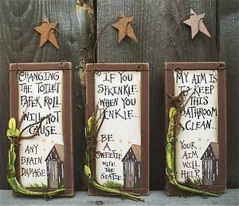 set 3 small primitive country outhouse etiquette signs bathroom wall decor ebay