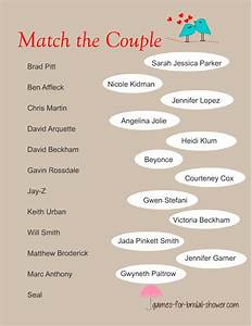 free printable match the famous couples game With couple wedding shower games