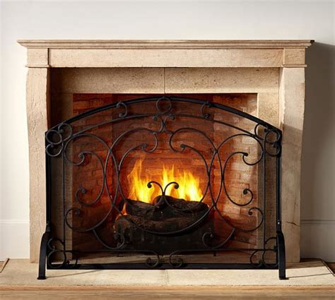 Aspen Fireplace Single Screen   Pottery Barn