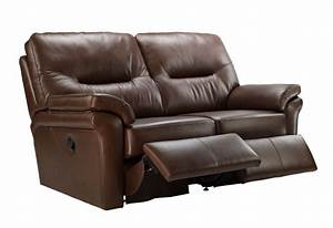 G plan washington leather 2 seater double recliner sofa for Sectional sofa with double recliner