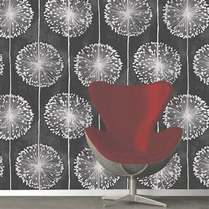 Muriva Dandelion Floral Wallpaper Black, Grey (J04219 ...