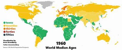 Median Age Aging 1960 Population Map Global