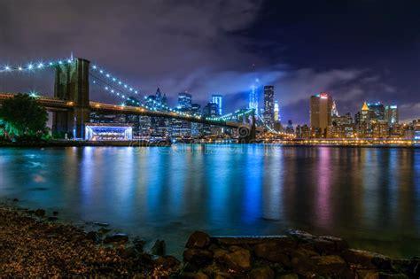 New York Brooklyn Bridge Lower Manhattan Usa Stock