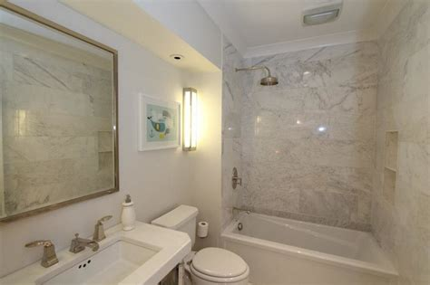 marble shower surround transitional bathroom design
