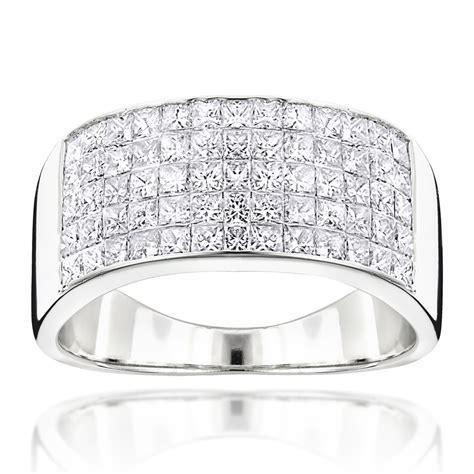 mens wide wedding band  princess cut diamonds ct