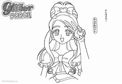 Glitter Force Coloring Pages Precure Character Lineart