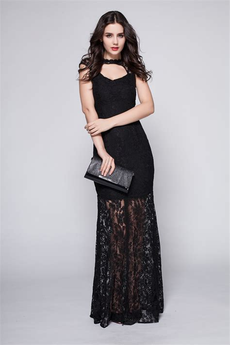 length black dress floor length black lace cut out prom gown evening dress Floor