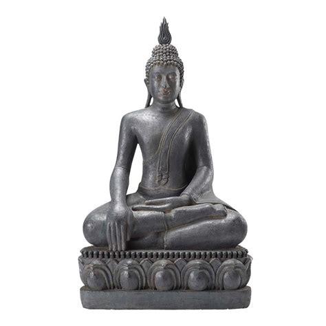 bouddha en resine exterieur statue bouddha assis en r 233 sine grise h 150 cm maisons du monde