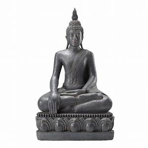 Statue Bouddha Interieur : statue bouddha assis en r sine grise h 150 cm maisons du monde ~ Teatrodelosmanantiales.com Idées de Décoration