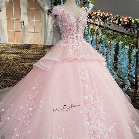 pink flower luxury wedding dress  ball gown bride