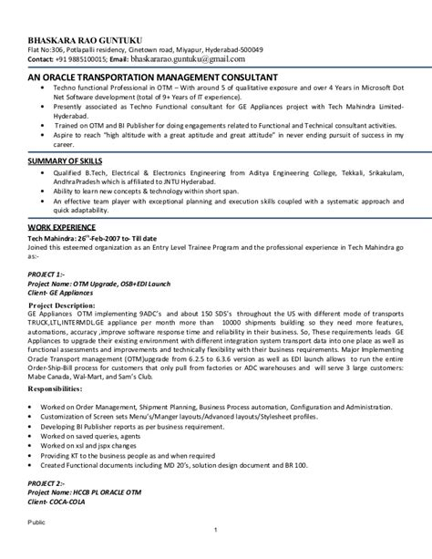 Techno Functional Consultant Resume by Bhaskara Otm Techno Functional Consultant