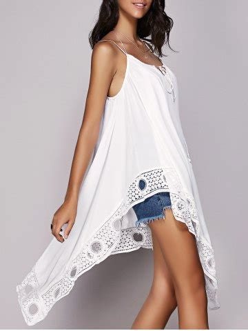 crochet trim hanky hem strappy tank top  white