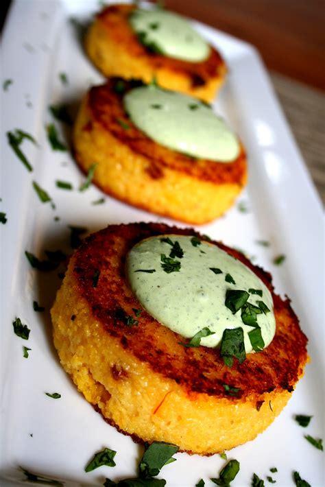 grit cakes 37 cooks chorizo grit cakes with cilantro cream