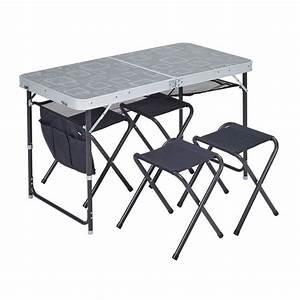 Table De Camping Leclerc : table de camping grey avec 4 tabourets trigano plan te plein air ~ Melissatoandfro.com Idées de Décoration