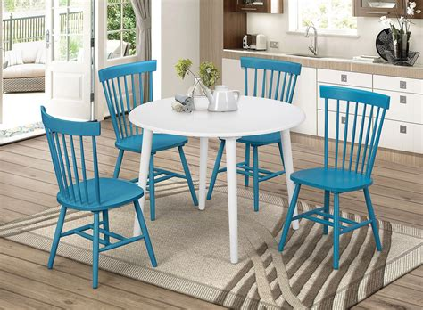 emmett  dining room set  teal chairs casual