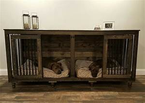 The double doggie dentm indoor rustic dog kennel for two for Large dog kennel furniture