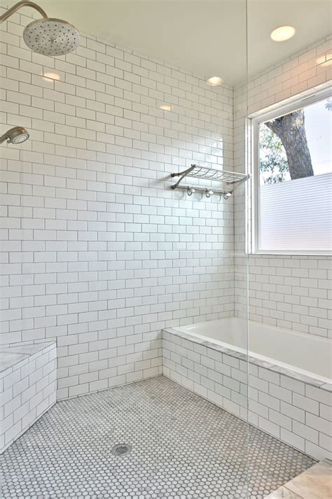 shower subway tile Bathroom Transitional with corner bench