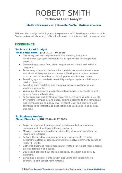 Sle Resume For Technical Lead by Lead Analyst Resume Sles Qwikresume