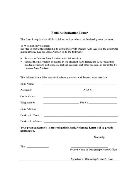 authorization letter  bank writing