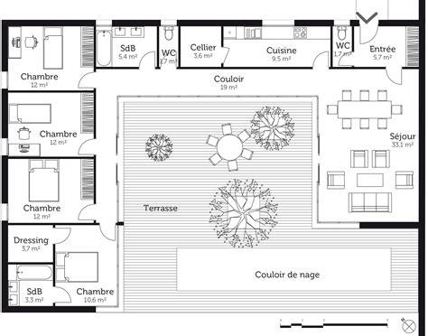 plan maison 1 chambre plan de maison en l avec 4 chambres avie home
