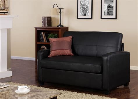 Mainstays Sleeper Sofa by Mainstays Black Faux Leather Sleeper Sofa