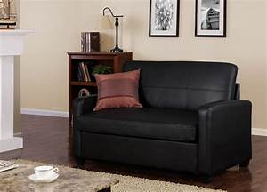 Old black leather small loveseat sleeper sofa for saving for Small spaces sectional sofa black faux leather