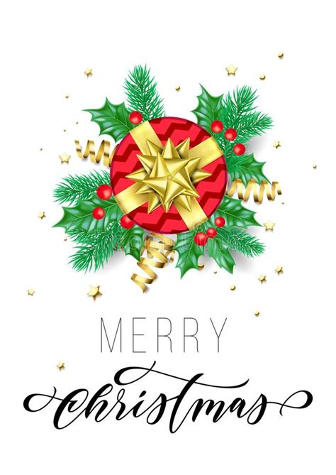 Red Winter Flourish And Christmas Tree Background Stock