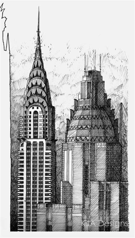 Items similar to Chrysler Building Pen & Ink Drawing Print