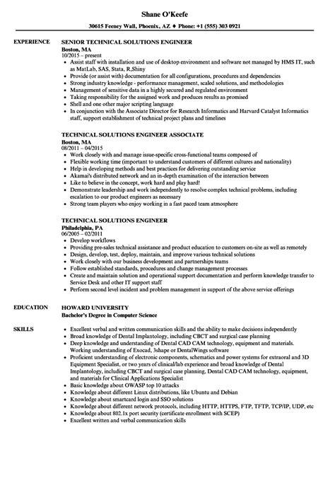 Technical Solutions Engineer Resume Samples | Velvet Jobs