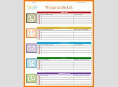 Template List Of Things To Do Template