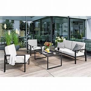Sunfun loungemobel set judith 4 tlg anthrazit bauhaus for Französischer balkon mit loungemöbel garten aluminium